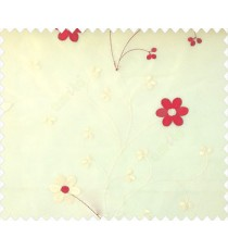 Beautiful daisy flower red and beige color oval shaped flower buds continues embroidery pattern polyester sheer curtain