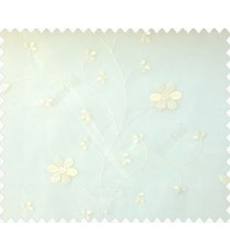 Beautiful daisy flower cream color oval shaped flower buds continues embroidery pattern polyester sheer curtain
