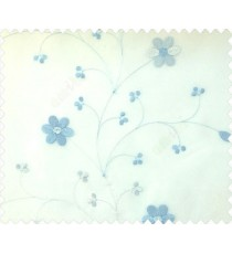 Beautiful daisy flower blue white color oval shaped flower buds continues embroidery pattern polyester sheer curtain