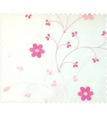 Beautiful daisy flower pink cream color oval shaped flower buds continues embroidery pattern polyester sheer curtain
