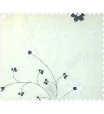 Beautiful daisy flower black and white color oval shaped flower buds continues embroidery pattern polyester sheer curtain