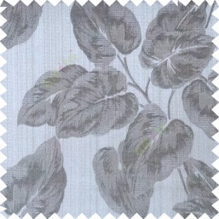 Black grey color beautiful floral leaf pattern texture background polyester fabric base main curtain