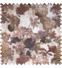 Dark brown white gold color beautiful big rose daisy flower leaves Japanese flowers with texture transparent net-finished polyester sheer curtain
