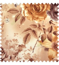 Gold white black beige color beautiful natural big rose daisy flower leaves Japanese flowers with texture finished polyester sheer curtain