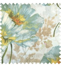 Blue gold orange green grey brown color beautiful big rose daisy flower leaves Japanese flowers with texture transparent net-finished polyester sheer curtain
