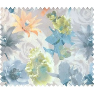 Orange blue green yellow brown grey cream blue color calla lily flower rose and different types of flower pattern watercolor print net finished texture soft sheer curtain