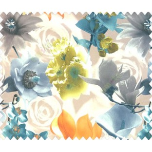Orange blue green yellow brown grey cream blue color calla lily flower rose and different types of flower pattern watercolor print main curtain