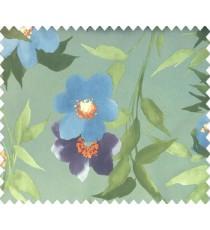 Green purple blue orange color calla lily flower long leaf stem tendril flower pattern watercolor print main curtain