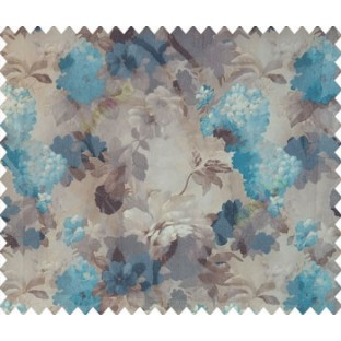 Dark brown blue beige cream color rose leaf daisy flower small flower bunch beautiful flower collection pattern watercolor print net finished soft texture sheer curtain