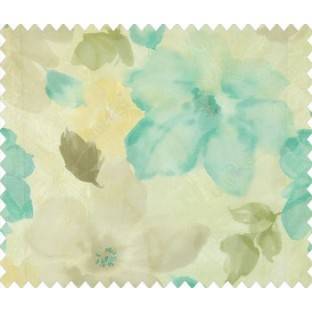 Blue brown beige green black big flower leaf floral buds daisy flower pattern beautiful watercolor print net finished sheer curtain