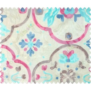 Pink brown blue beige color traditional flower floral pattern circles flower buds watercolor print net finished sheer curtain