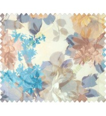 Orange beige blue purple brown color beautiful flower leaf long stem grass flower bunch pattern watercolor print net finished sheer curtain