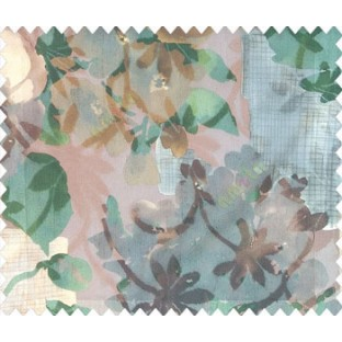 Dark brown green beige grey color big size flower bunch leaf buds checks vertical and horizontal crossing lines watercolor print net finished sheer curtain