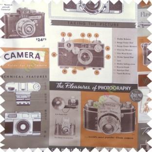 Brown white orange black color vintage camera photography alphabets wonder camera dolor photo films buttons switch lens main curtain