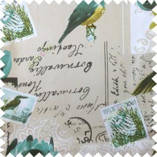 Blue cream white black natural beauty sea plants bird flowers post stamp alphabets pelican main curtain