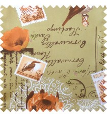 Orange green white brown natural beauty sea plants bird flowers post stamp alphabets pelican main curtain