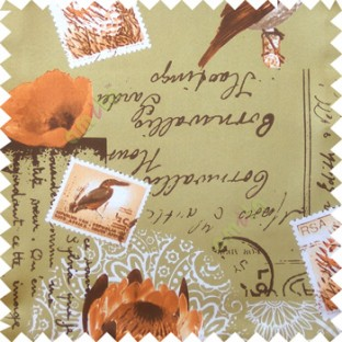 Orange green white brown natural beauty sea plants bird flowers post stamp alphabets pelican main curtain
