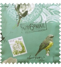 Blue white black green grey color natural beauty sea plants bird flowers post stamp alphabets pelican main curtain