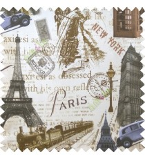 Grey brown cream black color alphabets vintage cars letters stamps Eiffel towers big ben clock London vintage train palace main curtain