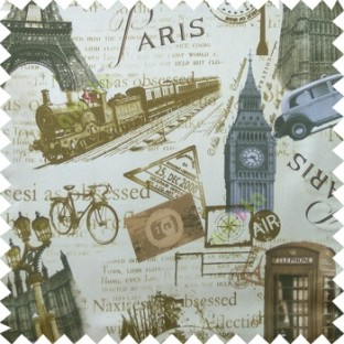 Grey brown cream black color alphabets vintage cars letters stamps Eiffel towers big ben clock London vintage train palace main curtain