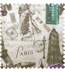 Purple green brown beige color alphabets vintage cars letters stamps Eiffel towers big ben clock London vintage train palace main curtain