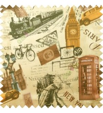 Yellow brown black cream color alphabets vintage cars letters stamps Eiffel towers big ben clock London vintage train palace main curtain