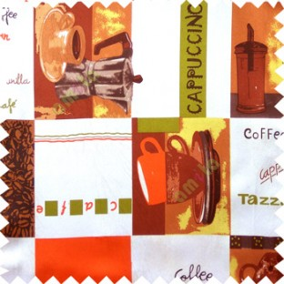 Orange red green white brown color coffee maker coffee seeds jug alphabets squares cups lines geometric shapes main curtain