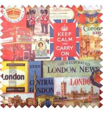 Red brown yellow blue orange green color queen alphabets guard with gun decorative screens crown London flag big ben clock main curtain
