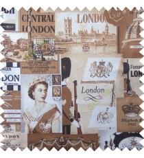 Brown white cream black color queen alphabets guard with gun decorative screens crown London flag big ben clock main curtain
