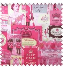 Pink black purple grey color queen alphabets guard with gun decorative screens crown London flag big ben clock main curtain