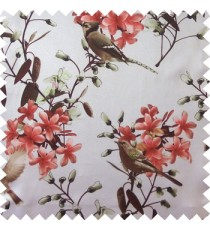 Maroon white green brown color natural beautiful flowers leaf floral designs bird trees blossom buds main curtain