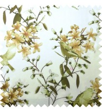 Green white brown color natural beautiful flowers leaf floral designs bird trees blossom buds main curtain