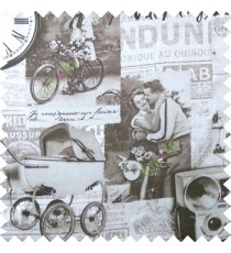 Brown white grey color vintage vehicles cycles motorcycles couples flowers alphabets clocks wheels swatch main curtain