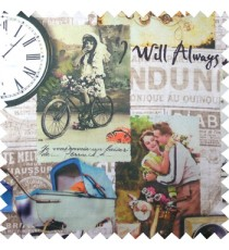 Blue orange pink green brown black beige color vintage vehicles cycles motorcycles couples flowers alphabets clocks wheels swatch main curtain