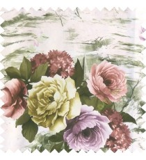 Green purple white color beautiful rose flower texture finished base fabric with thick polyester background leaves main curtain