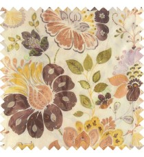 Purple yellow green white orange color beautiful traditional flower texture finished base fabric long flowing leaves with net transparent background leaves sheer curtain