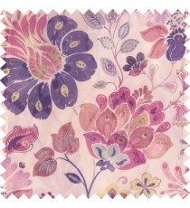 Purple blue green white brown color beautiful traditional flower texture finished base fabric long flowing leaves with net transparent background leaves sheer curtain