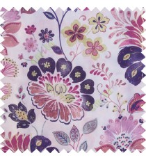 Purple blue green white brown color beautiful traditional flower texture finished base fabric long flowing leaves with thick background leaves main curtain