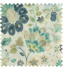 Blue purple green white grey color beautiful traditional flower texture finished base fabric long flowing leaves with net transparent background leaves sheer curtain