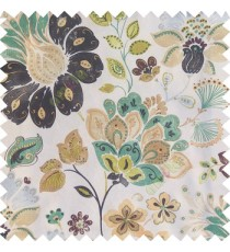Blue purple green white grey color beautiful traditional flower texture finished base fabric long flowing leaves with thick background leaves main curtain