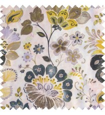 Black yellow brown purple green white color beautiful traditional flower texture finished base fabric long flowing leaves with thick background leaves main curtain