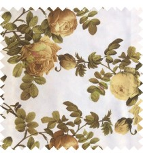 Dark green white brown color natural flower leaves thick fabric rosebuds with long branch polyester main curtain