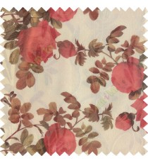 Red maroon dark green white color natural flower leaves transparent net fabric rosebuds with long branch polyester sheer curtain