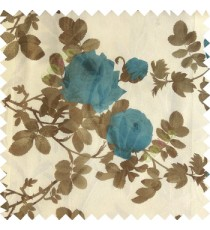 Blue brown white color natural flower leaves transparent net fabric rosebuds with long branch polyester sheer curtain