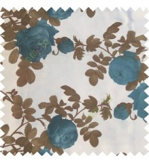 Blue brown white color natural flower leaves thick fabric rosebuds with long branch polyester main curtain