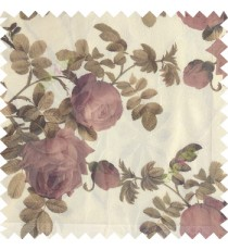 Dark purple green white color natural flower leaves transparent net fabric rosebuds with long branch polyester sheer curtain