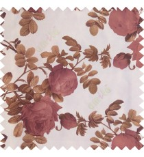 Dark purple green white color natural flower leaves thick fabric rosebuds with long branch polyester main curtain