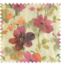 Purple pink green cream red color beautiful long stem support flower texture fabric leaves transparent net base fabric sheer curtain
