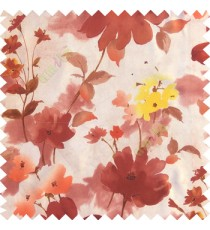 Copper brown yellow white color beautiful long stem support flower texture fabric leaves thick base fabric main curtain