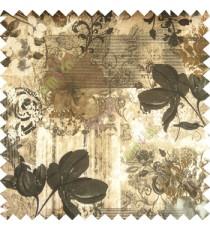 Black brown cream purple color beautiful flowers hanging petals vertical texture wooden layer stripes horizontal thin lines floral swirls flower buds traditional damask pattern poly main curtain